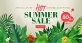 Summer sale banner design template. Vector illustration concept for internet marketing, poster, shopping ads, social media, web and graphic design. - 210122505