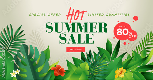 Summer sale banner design template. Vector illustration concept for internet marketing, poster, shopping ads, social media, web and graphic design. - 210122505