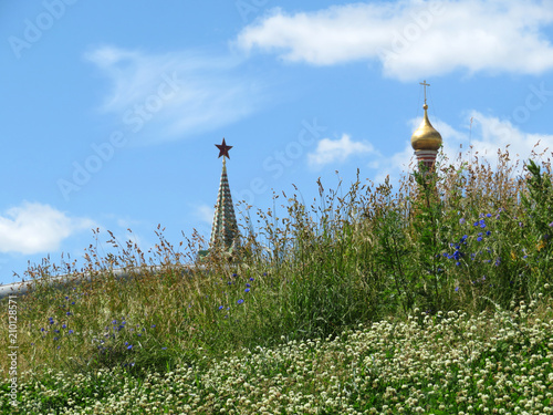 Green meadow with wild flowers on the background of the Moscow Kremlin tower and Orthodox dome with a cross. View of Moscow from Zaryadye Park