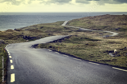 road in faroe islands - 210134537