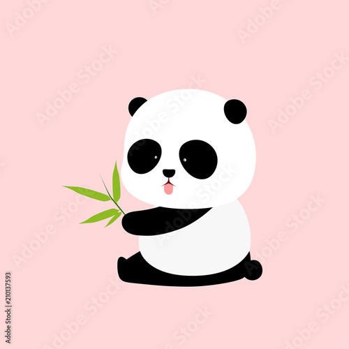 Fototapeta Vector Illustration: A cute cartoon giant panda is sitting on the ground, sticking tongue out, with a branch of bamboo leaves in hand