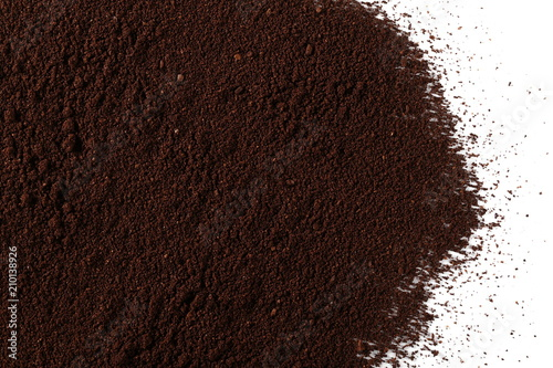 Fotobehang Koffiebonen Pile of powdered, instant coffee for espresso isolated on white background, top view