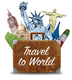 bag with travel destinations-famous places NYC, London Big Ben, Rome, Paris-Eiffel Tower, Rio de Janeiro-Jesus Statue, NYC-Statue of liberty - 210147104