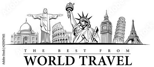travel destinations-famous placesNYC, London Big Ben, Rome-Coliseum, Paris-Eiffel Tower, Rio de Janeiro-Jesus Statue, NYC-Statue of liberty - 210147165
