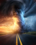 A powerful supercell storm at sunset producing a huge and destructive tornado touching down on a highway road. Mixed media illustration. - 210150727