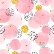 Seamless dotted pattern with pink and golden circles. Vector abstract background with watercolor shapes.