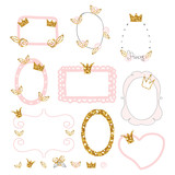 Set of cute princess photo frames with gold glitter elements. Vector hand drawn illustration. - 210158924