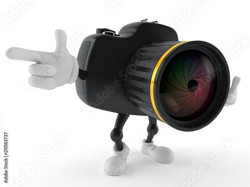 Fototapeta Camera character pointing finger