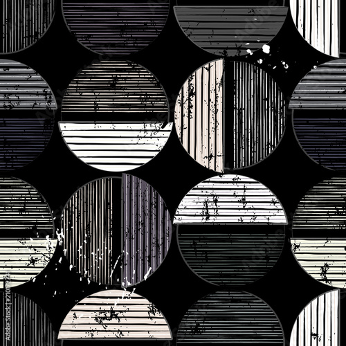 Aluminium Abstract met Penseelstreken seamless geometric background pattern, with circles/semicircles, paint strokes and splashes, black and white
