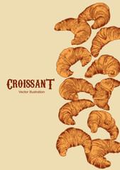 Круассаны. Векторное изображение французской кухни. Хрустящая булка.