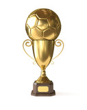Golden soccer trophy - Clipping path included - 210184168