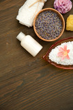Various spa items on a wooden background