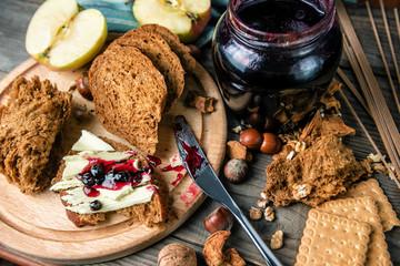 crispy handmade bread with jam