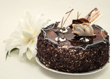 arge white lily and chocolate cake with powder on a light background