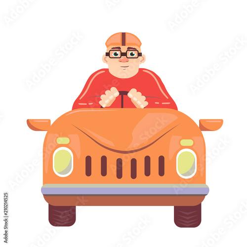 Plexiglas Auto Simple cartoon of a smiling man driving a sport car