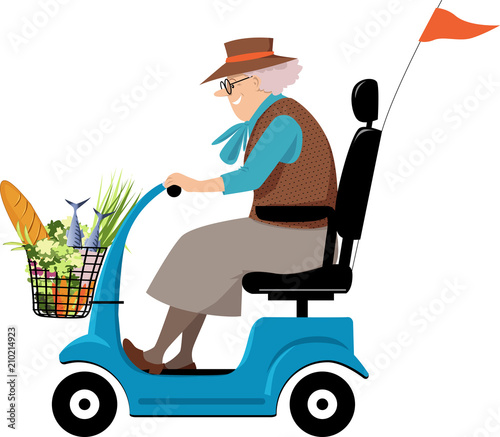 Elderly woman doing grocery shopping on a mobility scooter, EPS 8 vector illustration