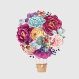 Watercolor floral vector air baloon - 210216301
