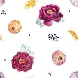 Watercolor floral vector pattern - 210216395