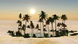 an oasis with palm trees in the sands, a desert with a pond, 3D rendering  - 210229159