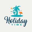 Summer beach vector illustration. Summertime background.
