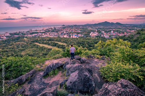 Fotobehang Lichtroze the tourist Take a photo and enjoy the beauty of the scenic spot (Khao Hin Lek Fai) is one of the beautiful tourist attractions in Hua Hin. Prachuap Khiri Khan, Thailand.