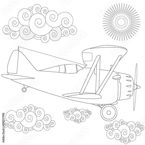 Plaine. Coloring image of air plane in the sky. Vector illustration.