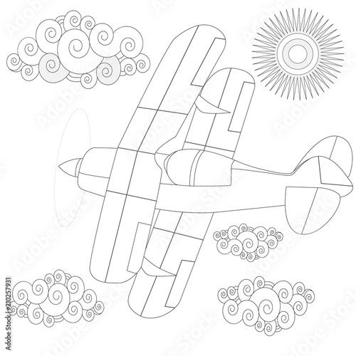 Plain. Coloring image of air plane in the sky. Vector illustration.