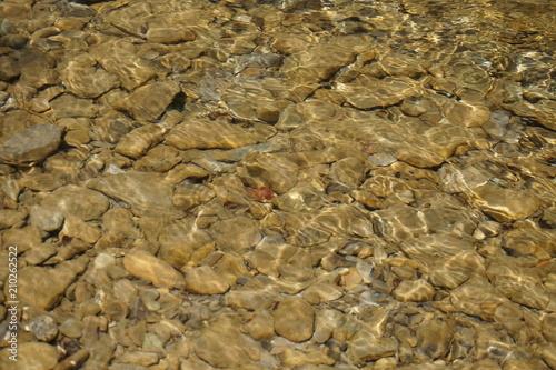 Aluminium Bergrivier Clean mountain river - stones