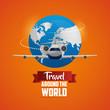travel around the world world airplane coming vector illustration