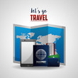 travel phone map passport wallet and ticket vector illustration