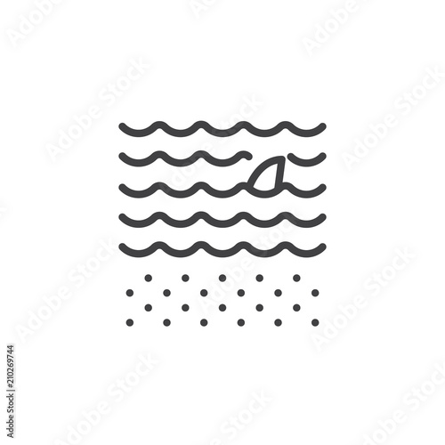 Fototapeta Shark fin above water outline icon. linear style sign for mobile concept and web design. Swimming shark simple line vector icon. Symbol, logo illustration. Pixel perfect vector graphics
