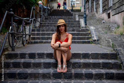 Aluminium Boedapest Beautiful tourist in downtown