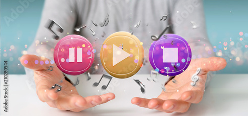Fotobehang Muziek Man holding a Music button and notes playing 3d rendering