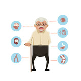 old man with disease icons on white the background. - 210282528