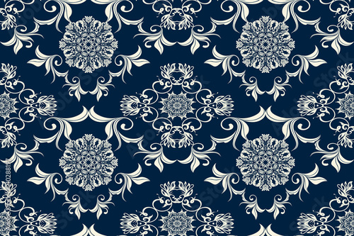 Fototapeta Seamless luxury decorative ornament on background. Luxurious floral ornament on background. Seamless wallpaper pattern. Trendy wallpaper pattern