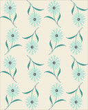 Vector seamless abstract pattern with light blue cornflowers on white background.