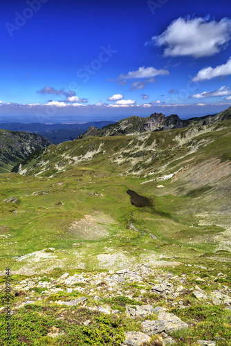 Canvas Donkerblauw Beautiful landscape in the high mountain