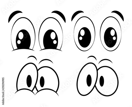 cartoon eyes set for comic book vector design isolated on white - 210296985