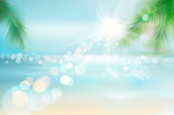 View of a tropical beach. Vector Illustration.  - 210297501