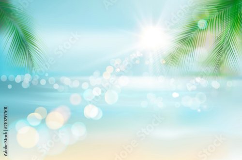 Fototapeta View of a tropical beach. Vector Illustration.