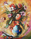A bright bouquet of flowers in a vase. Still life - a decorative texture on canvas. Author: Nikolay Sivenkov.