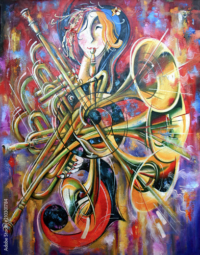 An oil  painting on canvas. Music, the girl plays musical wind instruments. Artistic work in bright and juicy tones. - 210301784