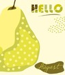 Hello august text. Summer background with pear - 210303955