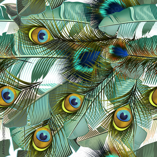 Fototapeta Fashion tropical pattern with realistic peacock feathers and banana green leafs
