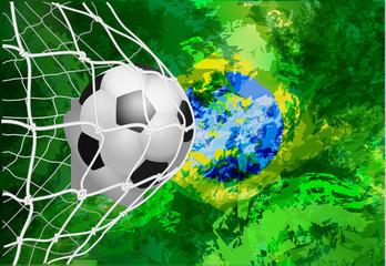 Soccer ball in net with brazil flag, modern template design