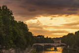 Bridge over the river Tiber in Rome at sunset - 210319726