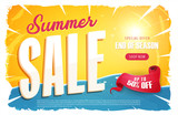 Hot Summer Sale Banner/ Illustration of a summer sale template banner with colorul elements, typography and grunge frame - 210319741