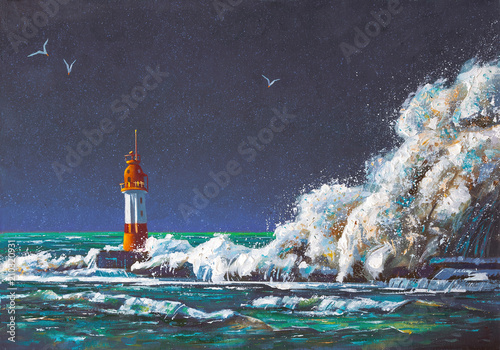 Fototapeta A large squall of wave envelopes the Lighthouse during the storm. Painting: canvas, oil. Author: Nikolay Sivenkov.
