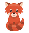 Little red panda cartoon isolated on white background, vector illustration.