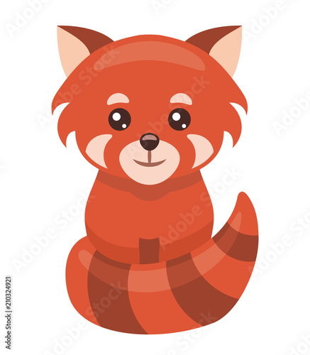 Fototapeta Little red panda cartoon isolated on white background, vector illustration.